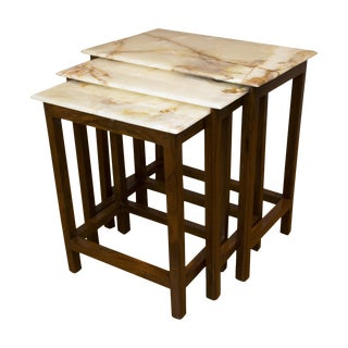 Tyl Onyx & Rosewood Nesting Tables - Set of 3