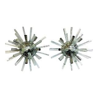 Italian Glass Radiating Pendant Sputnk Sconces - A Pair