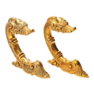 French 19th century Beautiful Pair of Bronze Figural Wall Brackets