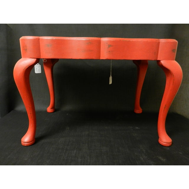 Image of Solid Wood Red Queen Anne Style Side Table