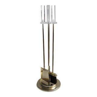 Lucite & Brass Albrizzi Fireplace Tools