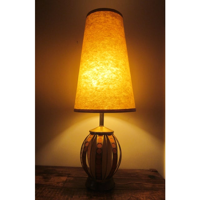 Mid Century Modern Orange Dot Brass Lamp - Image 9 of 9