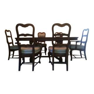 Vintage Carved Mahogany Dining Set - Set of 7