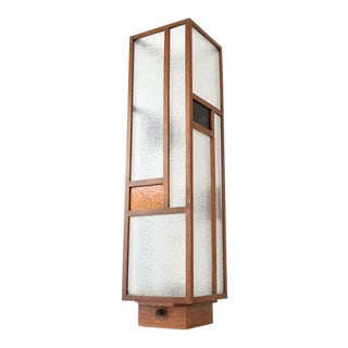 Mid Century Teak and Glass Mondrian Table Lamp