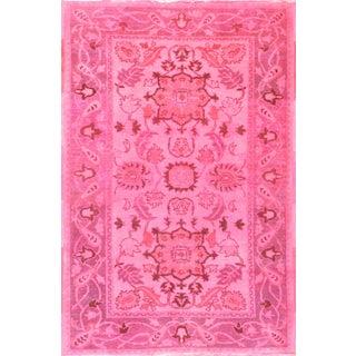 Overdyed Pink Farahan Rug - 4' X 6'