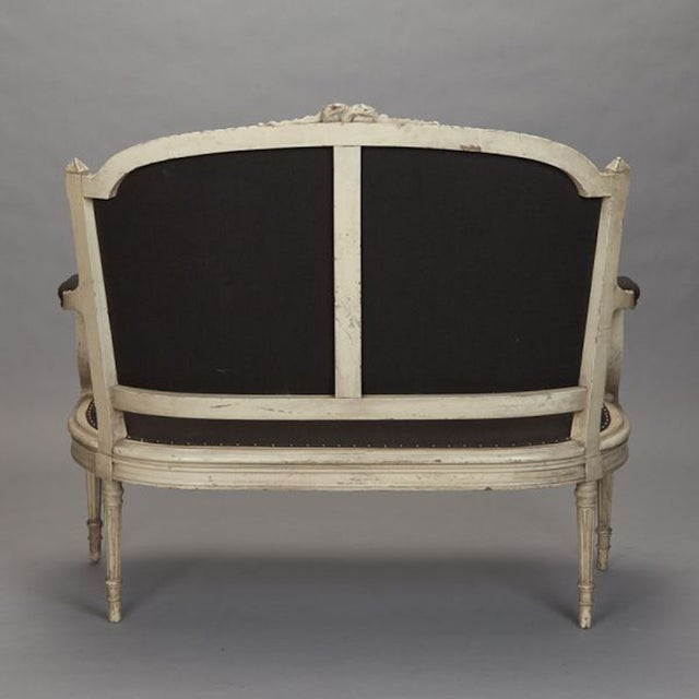 French Cream Painted Settee, Dark Gray Upholstery - Image 6 of 7