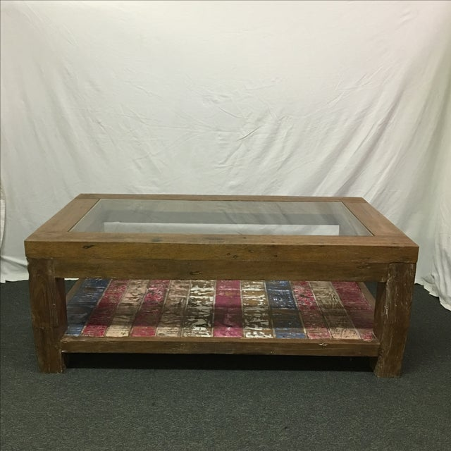 Rustic Whitewashed Coffee Table - Image 3 of 9