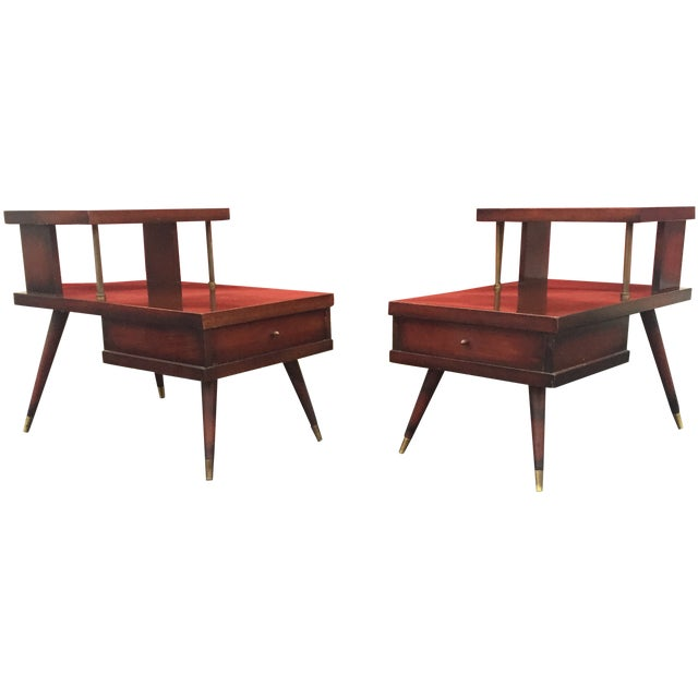 Mid-Century Mahogany End Tables - A Pair - Image 1 of 11