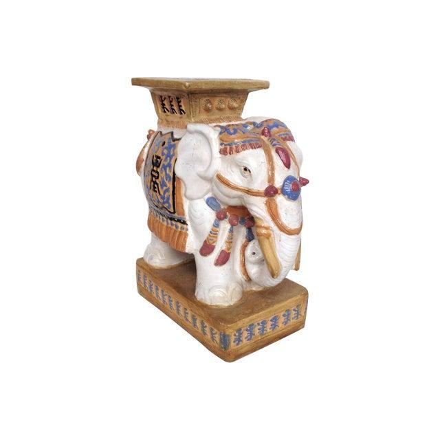 Glazed Elephant Drink Table Garden Stool - Image 1 of 5