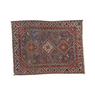 """Antique Qashqai Square Rug - 3'11"""" x 4'11"""""""