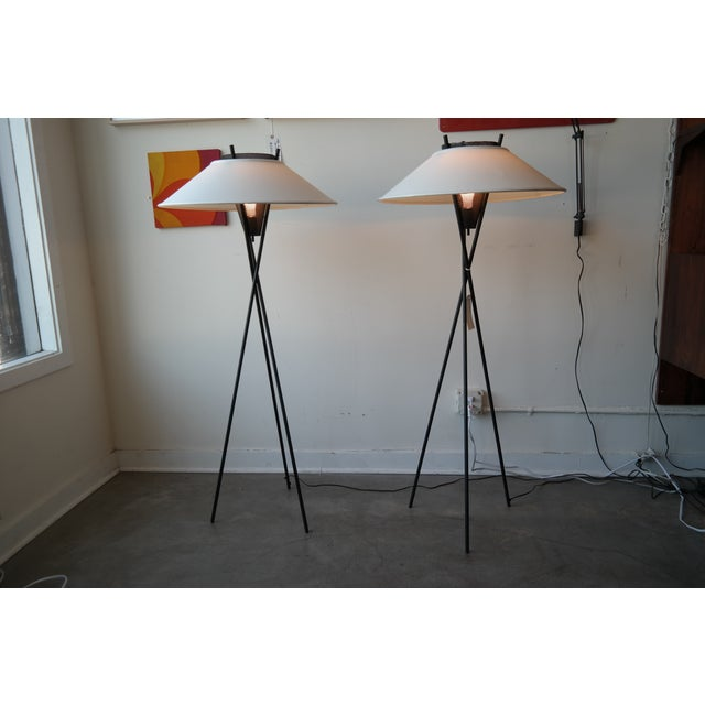Gerald Thurston Tripod Floor Lamps- A Pair - Image 2 of 5