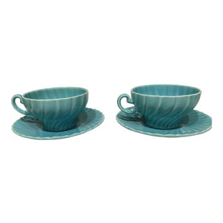 Vintage Turquoise Teacups - A Pair