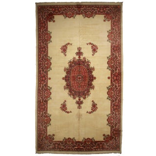 Hand-Knotted Wool Indian Rug - 10′7″ × 21′8″