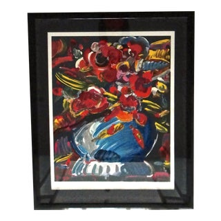 Peter Max Flowers in Blue Vase II Serigraph