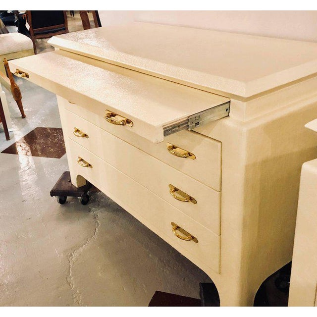 Karl Springer Style Linen Wrapped Commodes or Chests - A Pair - Image 5 of 11