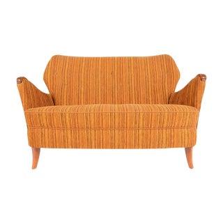 Swedish Modern Striped Love Seat in Elm