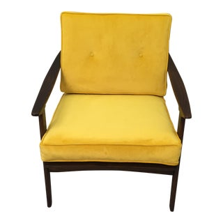 Mid-Century Modern Restored Arm Chair Velvet Cushions