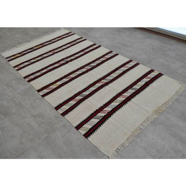 Vintage Natural Stripe Turkish Cotton Kilim Rug - 4′3″ × 8′ - Image 2 of 9