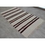 Image of Vintage Natural Stripe Turkish Cotton Kilim Rug - 4′3″ × 8′