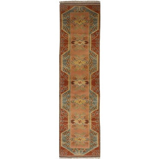 Vintage Turkish Oushak Hand Knotted Neutral Runner Wool Rug - 2' x 10'
