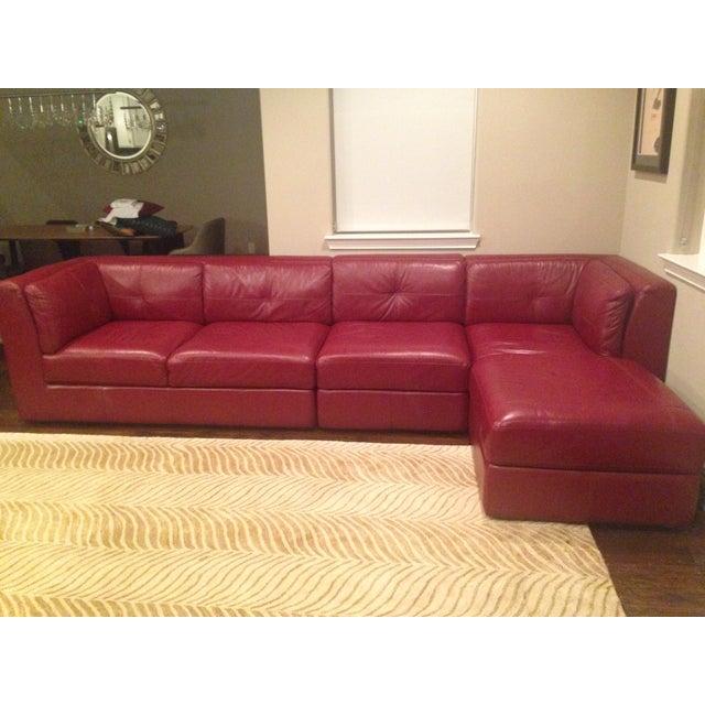 Image of Red Designer Leather Sofa