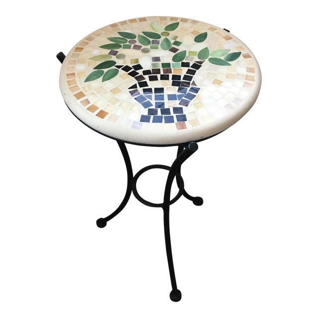 Mosaic & Iron Garden Table - Image 1 of 4