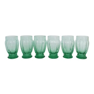 Vintage Green Handblown Glasses - Set of 6