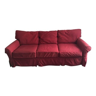 Crate & Barrel Red Slipcover Sofa