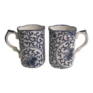 Vintage Chinoiserie Porcelain Mugs - A Pair