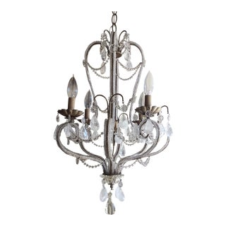 Silvered Metal & Rock Crystal Chandelier
