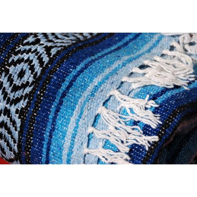 Blue Handmade Mexican Throw Rug