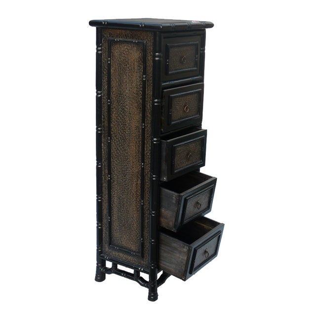 Black Rattan Bamboo 5 Drawers Chests - A Pair - Image 4 of 6