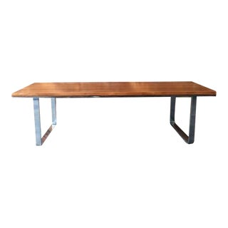 Vintage Refinished Wood Chrome Coffee Table