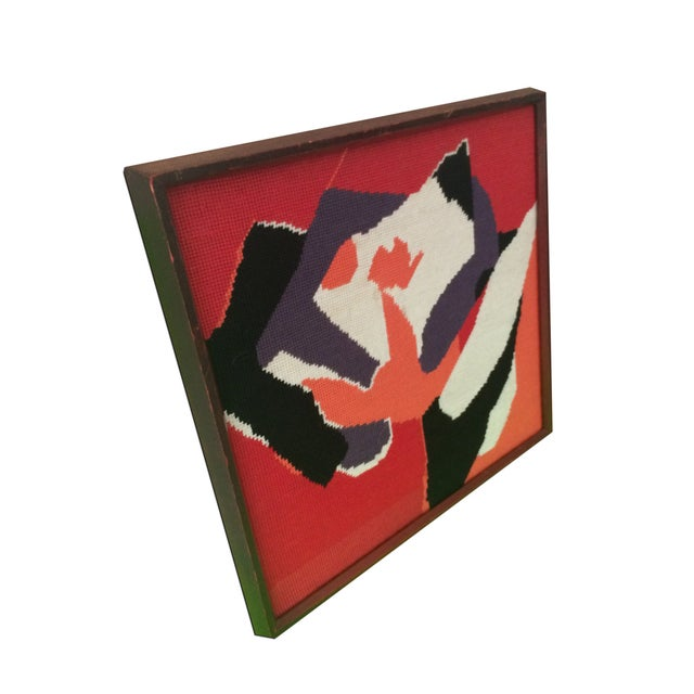 Image of Framed Needle Point Rose Art