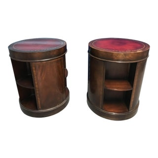 Two Federal Style Leather Topped End Tables