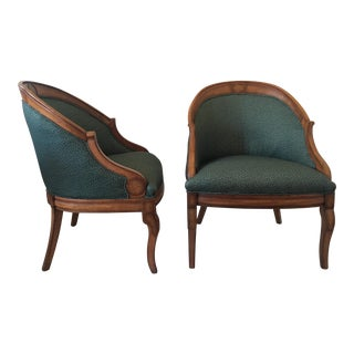 Vintage Upholstered Barrel Chairs - A Pair