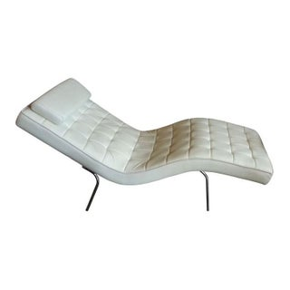 Modern Cream Leather Chaise Longue