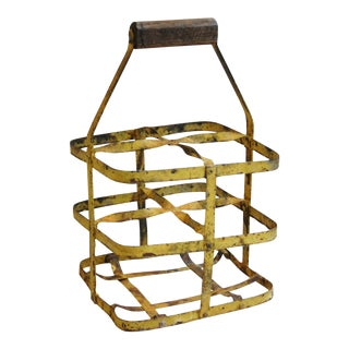 1930s French Yellow 4-Bottle Wine Carrier