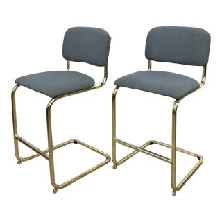 Brass Cantilever Counter Stools - A Pair