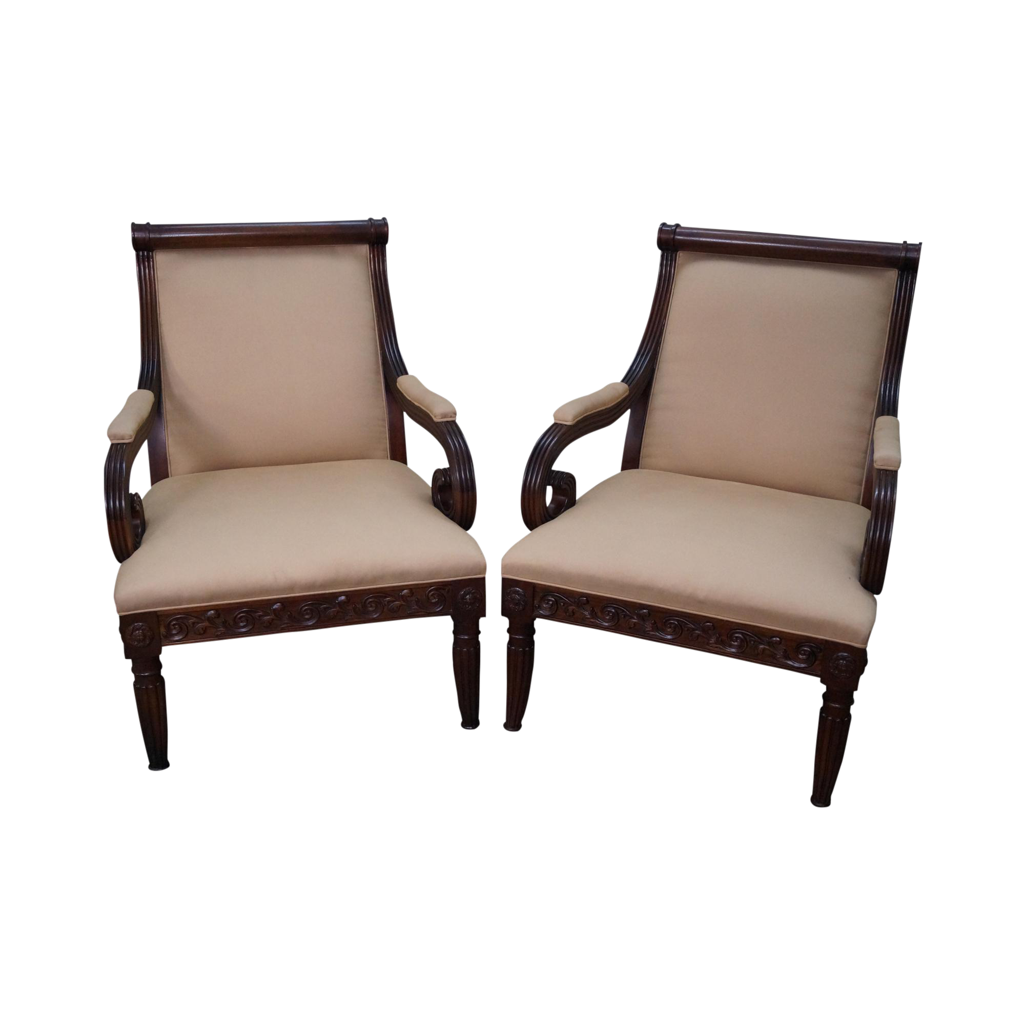 Hickory Chair Solid Mahogany Wide Seat Regency Style Lounge Chairs   A Pair