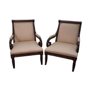 Hickory Chair Solid Mahogany Wide Seat Regency Style Lounge Chairs - a Pair