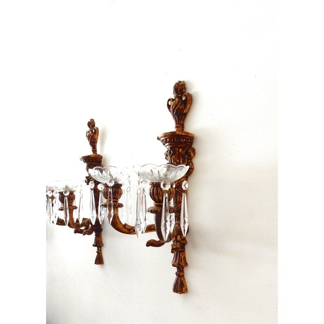 French Wood Candle Holder Sconces - Pair - Image 8 of 11