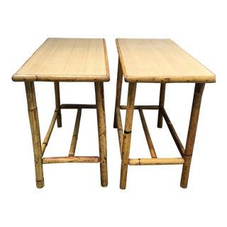 Vintage Boho Rattan Tables - A Pair
