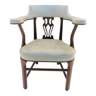 Colonial Willamsburg Style Mahogany & White Leather Side Chair