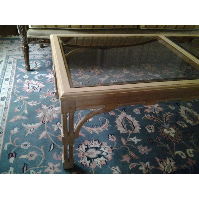 Transitional Wood & Glass Coffee Table - Image 3 of 7
