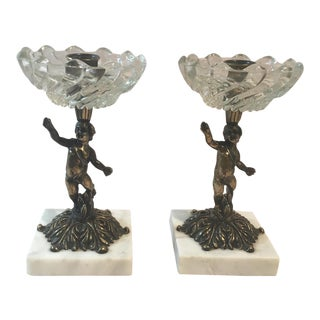 Italian Brass Marble & Crystal Candle Holders - A Pair