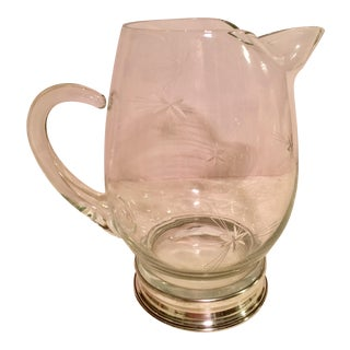 Glass & Sterling Silver Cocktail Pitcher