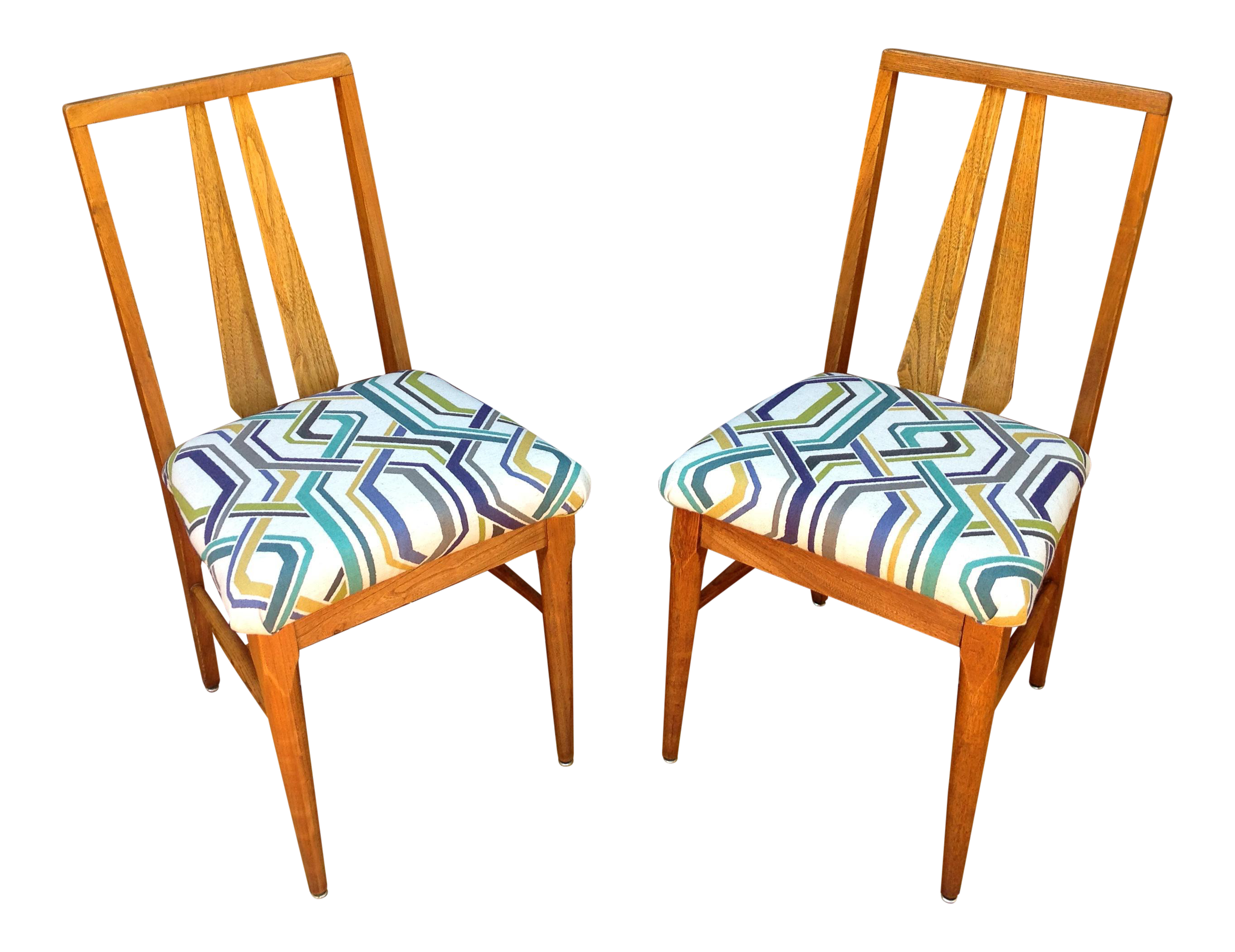 vintage wood accent chairs a pair