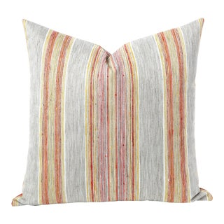Woven Vertical Striped Grey Orange and Pink Euro Sham Pillow Cover