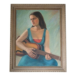 Signed and Framed Vintage Oil Portrait Painting of Woman Playing Guitar